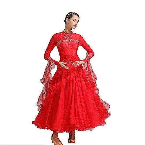 Modern Ballroom Dance Dress Wettbewerb, Match Suit Frauenabend Rituellen Stil/Tanzen Moderne Glatte Walzer Tango-Party Latin Swing Wettbewerb Dancewear Rock Dress Kostüme Kurzärmelige Strumpfhosen,S