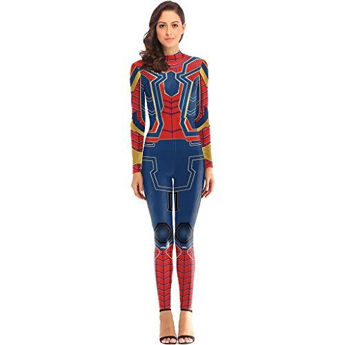 Iron Mann Blue Kostüm - QWEASZER Marvel Avengers Iron Spider-Man Kostüm Frau Kostüm Cosplay Overall Outfit Halloween Weihnachten Maskerade Prom Party Kostüm,Blue Spiderman-XL