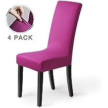 Fundas para sillas pack de 4 fundas sillas comedor fundas elásticas, cubiertas para sillas,bielástico Extraíble funda, muy fácil de limpiar, duradera (Paquete de 4, Púrpura-oscuro)