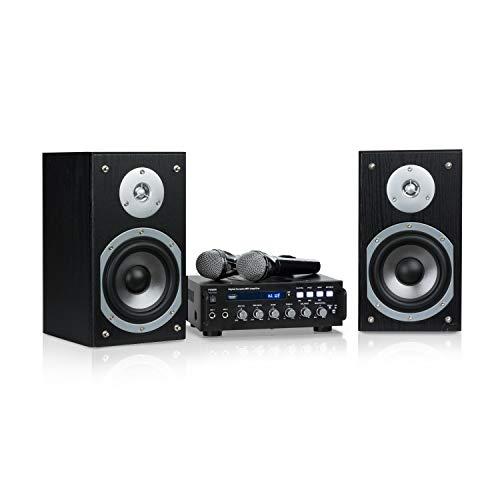 auna Karaoke Star 3 Karaoke-Set - Karaoke-System, Karaoke-Anlage, 2 x 75 W max, Bluetooth, USB, Line-In, inkl. Mikrofone und Lautsprecherkabel, schwarz