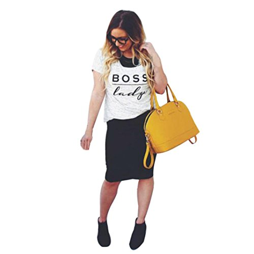 OverDose Parentage Kleidung Familie Suiten Rundhalsausschnitt Letter Printing Blusen Tops T-Shirt (S, BOSS Lady) (Lady T-shirts Boss)