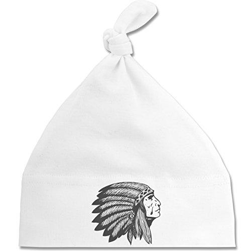 Up to Date Baby - Indianer Häuptling Handzeichnung - Unisize - Weiß - BZ15 - Baby Mütze mit einfachem Knoten als Geschenkidee Weiße Indianer-häuptling Hat