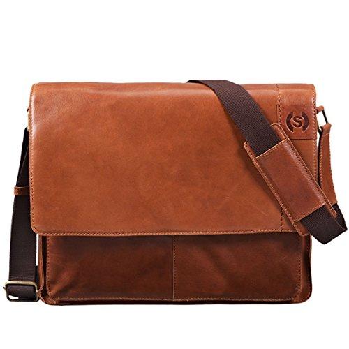 STILORD 'Athos' Businesstasche Leder Herren Damen 15,6 Zoll Laptoptasche Messenger Bag Vintage Umhängetasche viele Fächer & groß Elegante Aktentasche aus echtem Leder, Farbe:Ocker - braun
