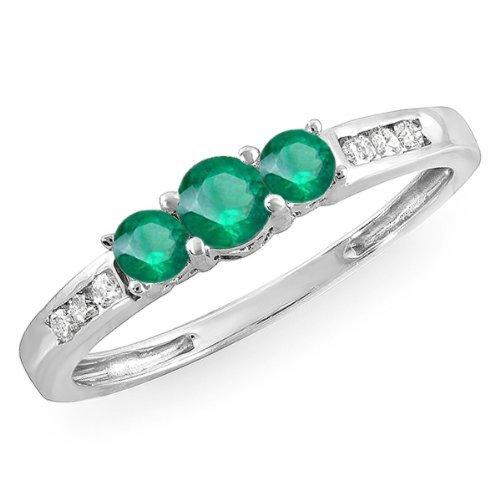 Damen Ring 14 Karat Weißgold Rund Echte Smaragd & Diamant Damen 3 Stein Verlobungsring Drei Diamant-verlobungsring