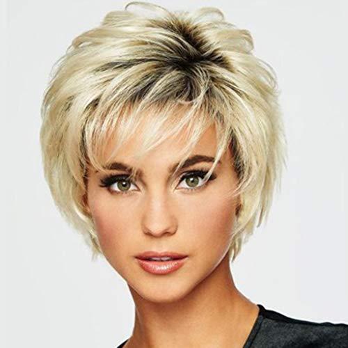 TianWlio Perücken DamenArt und Weisesynthetische Kurze Gerade Goldfrauen Perücken Natürliche Haar Perücken Weibliches Fibe