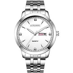 BELLESIE Waterproof Retro Stainless Band Casual Silver-tone Mens Classic Quartz Wristwatch with Calendar