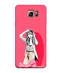 PrintVisa Designer Back Case Cover for Samsung Galaxy S6 G920I :: Samsung Galaxy S6 G9200 G9208 G9208/Ss G9209 G920A G920F G920Fd G920S G920T (Pink Girl Beautiful Girl Trendy)