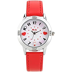 Cute Cartoon Rabbit Luxury Rhinestone Leather Strap Quartz Women Girl Wrist Watch,Red