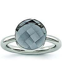 Stainless Steel Polished Grey Glass Ring - Ring Size Options Range: J to R