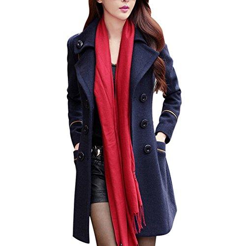 ROPALIA Damen Klassischen Doppelten Breasted Trenchcoat Lange Jacke Warm Mantel Outwear (Mantel Breasted)
