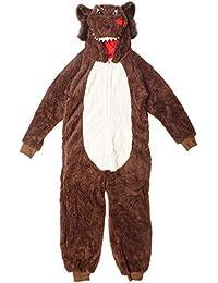 Garçons Loup de Luxe Fermeture Éclair Polaire Pyjama Combinaison à Capuche Barboteuse Tailles de 7 à 13 Ans