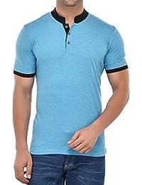 9Zeus Half Sleeve Slim Fit 100% Cotton Light Blue With Collar T-shirt For Men
