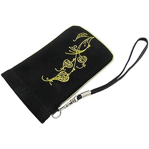 Blk imitación de cuero amarillo de la flor bolsa bolsa para el teléfono