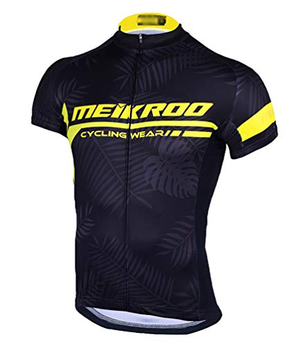Yiiquan Herren Sommer Kurzarm Outdoor Sport Atmungsaktiv Radfahren Trikot Cycling Jersey Bike Shirt (Schwarz Gelb, Asia 2XL) -