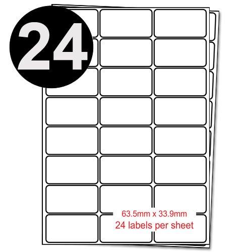 Packung mit 100 Blatt A4-Adressaufkleber - 24 Etiketten pro Blatt - 63.5mm x 33.9mm - Geeignet Ersatz für Inkjet- und LaserJet-Drucker. (Laserjet-etiketten)
