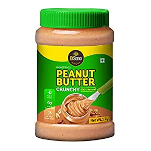 DiSano All Natural Peanut Butter, Crunchy, 30% Protein, Unsweetened, Gluten Free, 1 Kg