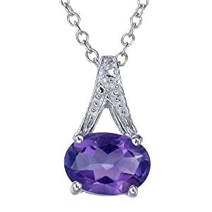 """Sterling Silver Amethyst Pendant (1.20 CT) With 18"""" Chain"""