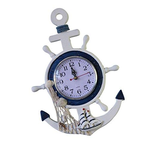 Generic Hängende Wanduhr , Maritim Lenkrad Design , Uhr Seesterne Dekor Anker Schiff Weiß - Fischen, 23 x 2 x 33 - Fisch-wand-uhr