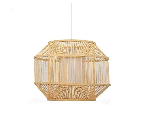 Lightceiling Lampshade Lighting Chandelier Bamboo Wicker Rattan Cube Cage Shade Pendant Light Fixture Rustic Country Asian Hanging Lamp Avize Luminaria Dining Table Room -