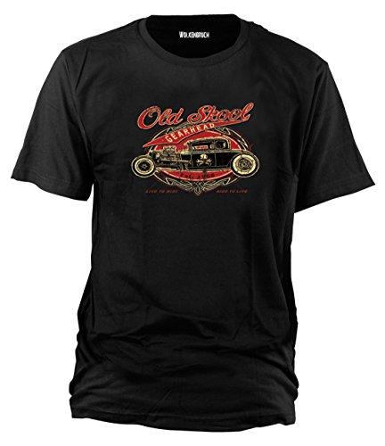T-Shirt Old Skool Hot Rod, schwarz Gr.M - A-rod Shirt