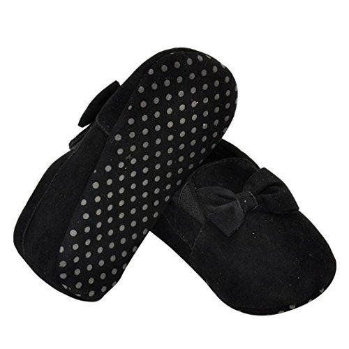 Hunpta Babyschuhe Mädchen Jungen Lauflernschuhe Neugeborenes Baby Kinder Gummiband Prewalker Bowknot Kleinkind weiche Sohle Schuhe (11, Schwarz) Schwarz
