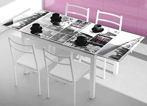 Miroytengo Pack Muebles Cocina Mesa Extensible Cristal Decorada New York y 4 sillas apilables Color Blanco Estructura Acero