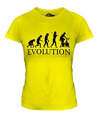 CandyMix Fahrradergometer Evolution Des Menschen Damen T Shirt, Größe X-Large, Farbe Zitronengelb