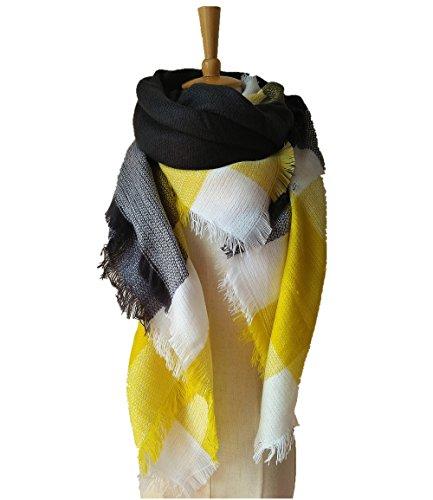 Avanon Schal Damen Winterschal Herbstschal übergroßer Kariert Pattern Elegante Soft Wrap Schal Deckenschal Poncho (Gelb)