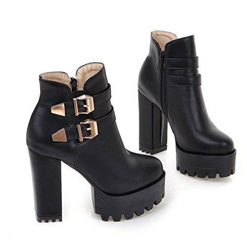 YE Damen Blockabsatz Chunky High Heels Plateau Stiefeletten mit Schnallen und Reißverschluss 12cm Absatz Ankle Boots weiße sohle Schwarz