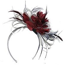 Aro de Borgoña neta del rojo de vino de color gris plateado y plumas Tocado para cabello diadema boda Royal Ascot de carreras