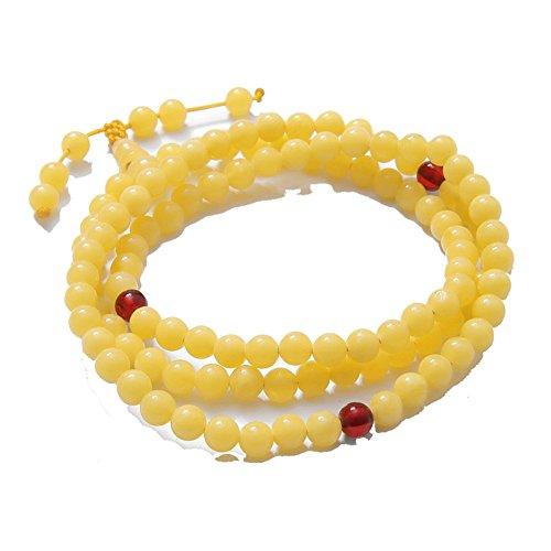 Qiyun Orange, Jade Clair Perle Ronde Chaine De Perles Priere Bracelet elastique Mala