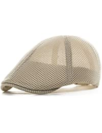 a0f5eab8884 VOBOOM® Men Breathable mesh Summer hat Adjustable Newsboy Beret Ivy Cap  Cabbie Flat Cap MZ124