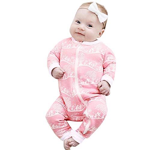 serliy Baby Drucken Strampler Soft Overall Set Kleinkind Kinder Mädchen Santa Striped Prinzessin Weihnachten Kleidung Jungen Jumpsuit Schneeanzüge Säugling Langarm-Bodysuits Baumwolle Spielanzug Cotton Soft Overalls