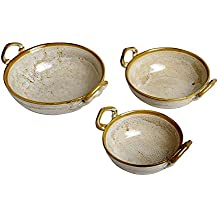 Caffeine Ceramic Handmade Household of Hot Golden Crackle Art Influenced Multipurpose Kadhai Set (set of 3)