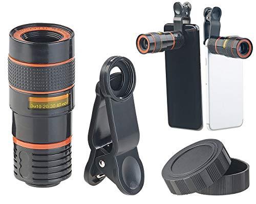 Somikon Handy Teleobjektiv: Smartphone-Vorsatz-Tele-Objektiv mit 8-Fach optischer Vergrößerung (Smartphone Vorsatz Teleobjektiv)