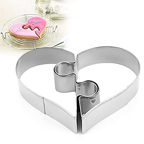 Stainless Steel 2pcs Love Heart Cake Cookie Cutter Mold Pastry Biscuit Baking Stamp Moulds