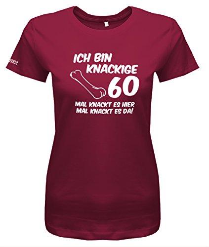 Jayess Ich bin knackige 60 mal knackt es hier - Geburtstag - Damen T-Shirt in Sorbet by Gr. XL (Themen Sechzig Geburtstag)