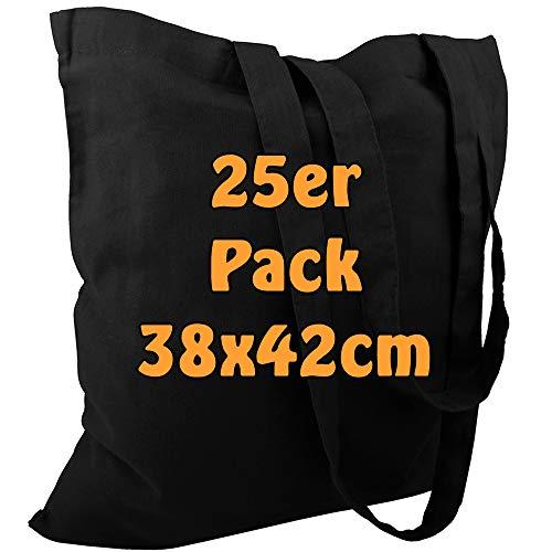 Cottonbagjoe Baumwolltasche Jutebeutel unbedruckt mit Zwei Langen Henkeln 38x42cm (Schwarz, 25 Stück)