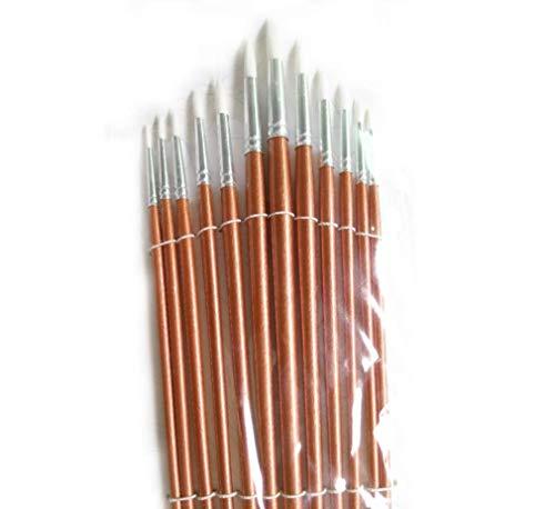 Hycy® 12 Stücke/Runde Form Nylon Haar Holzgriff Pinsel Set Werkzeug Für Kunstschule Aquarell Acrylmalerei