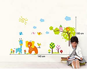 Instylewall Home Decorative Mural Vinyl Wall Sticker Happy Animals Beautiful Day Kids Nursery Wall Art Decal Paper