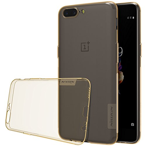 Sanchar's For Oneplus 5 case NILLKIN Nature clear TPU Ultra Thin Case For One plus 5 / 1+5 / Oneplus5 A5000 Soft Back cover case- gold transparent  available at amazon for Rs.799