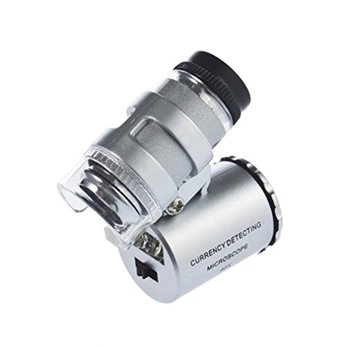 KIMILAR Mini 60X LED Mikroskop, Taschenmikroskop Lupe Mikroskop für Juwelier Einstellbare Lupe mit UV-Licht - Handy-mikroskop