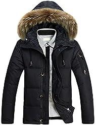 SODIAL(R) Hommes Survetement Col en Fourrure Capuche Parka Hiver Epais Manteau Duvet de Canard Doudoune Outwear Noir M