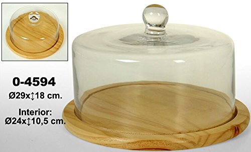 DonRegaloWeb - Quesera con plato de madera y tapa de cristal transparente.