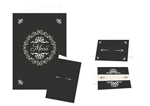 für 25 - 30 Gäste): edel elegant SCHWARZ-weiß-creme-farben : 32 Tischkarten + 12 Menükarten für Hochzeit, Geburtstag, größere Veranstaltungen zum selber-machen-drucken (Schwarze Und Weiße Tischdekoration Ideen)