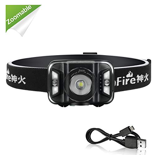 Supfire Zoomfähig Scheinwerfer,USB Wiederaufladbare LED Stirnlampe,500 Lumen Ultraheller Kopflampe,5 Modi,Sensor Kopfleuchte Warnen- Rotlicht,Wasserdicht Einstellbar für Laufen,Angeln,Campen