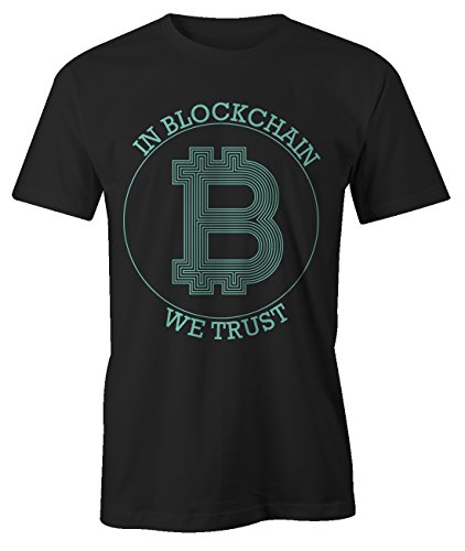 In Blockchain We Trust Bitcoin Cryptocurrency BTC LTC Digital Currency T-Shirt Camiseta Hombres Negro Large