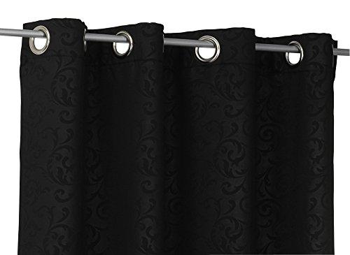 Haus und Deko Verdunkelungsvorhang Blickdicht Ösen Übergardine B/H 135 x 245 cm florales Muster schwarz -