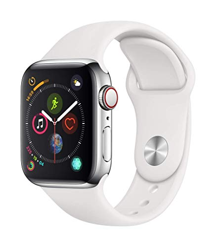 Apple Watch Series 4 (GPS + Cellular, 40mm) - Stainless Steel Case with White Sport Band
