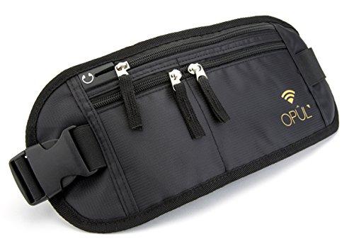 Riñonera antirrobo para el dinero - Cinturón-monedero de viaje - Riñonera running para el pasaporte - Bolso fácil de esconder para viajar, correr y senderismo - Bolso de cintura de Opul